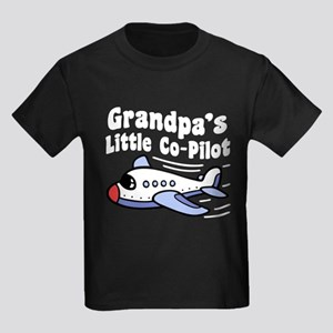 Grandpa's Little Co-Pilot Kids Dark T-Shirt