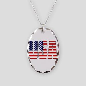 USA Flag Necklace Oval Charm