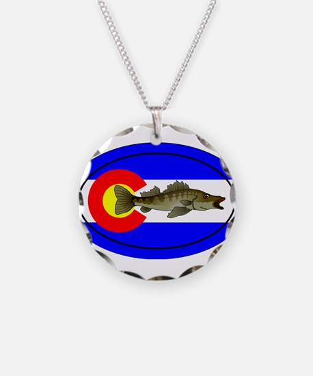 Colorado Oval Flag Walleye Necklace
