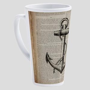 nautical beach vintage anchor 17 oz Latte Mug