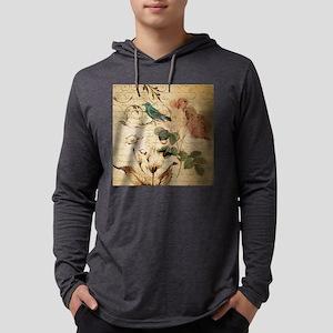 vintage rose bird paris french Long Sleeve T-Shirt