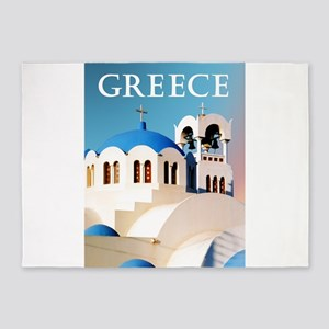 Church Roof and Bell Tower Greece 5'x7'Area Rug