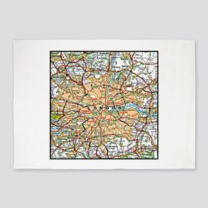 Map of London England 5'x7'Area Rug