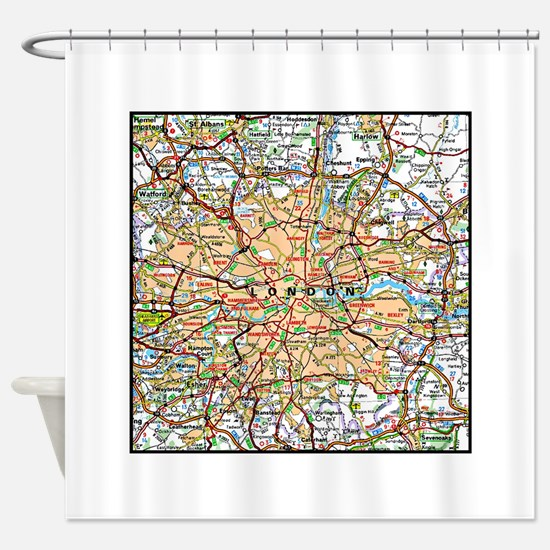 Map of London England Shower Curtain