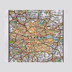 Map of London England Throw Blanket