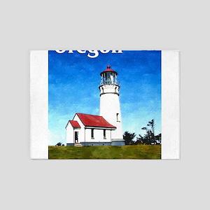 Cape Blanco Lighthouse Text Oregon 5'x7'Area Rug
