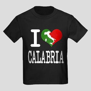 I Love Calabria Italian Kids Dark T-Shirt