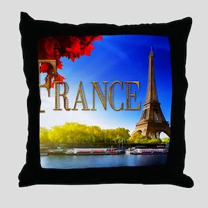 France on the Seine Throw Pillow