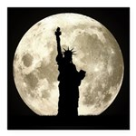 Full Moon Liberty Silhouette Square Car Magnet 3