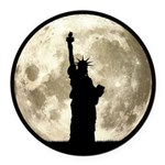 Full Moon Liberty Silhouette Round Car Magnet