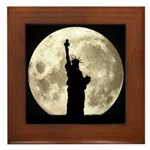 Full Moon Liberty Silhouette Framed Tile