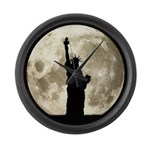 Full Moon Liberty Silhouette Large Wall Clock
