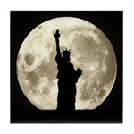 Full Moon Liberty Silhouette Tile Coaster