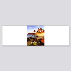 Palms, Beach, Rocks Ocean at Sunse Bumper Sticker