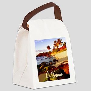 Palms, Beach, Rocks Ocean at Sun Canvas Lunch Bag