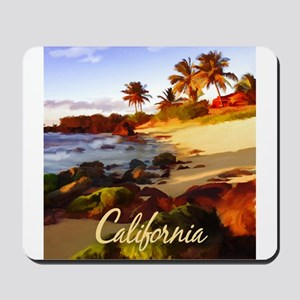 Palms, Beach, Rocks Ocean at Sunset Cal Mousepad