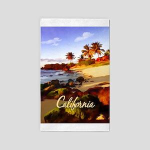 Palms, Beach, Rocks Ocean at Sunset Cali Area Rug
