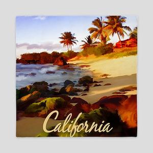 Palms, Beach, Rocks Ocean at Sunset C Queen Duvet