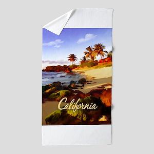 Palms, Beach, Rocks Ocean at Sunset C Beach Towel