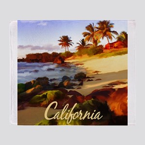 Palms, Beach, Rocks Ocean at Sunset Throw Blanket