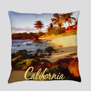 Palms, Beach, Rocks Ocean at Suns Everyday Pillow