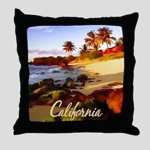 Palms, Beach, Rocks Ocean at Sunset Throw Pillow