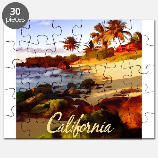 Palms, Beach, Rocks Ocean at Sunset Califo Puzzle