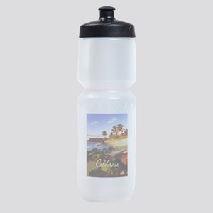 Palms, Beach, Rocks Ocean at Sunset Sports Bottle