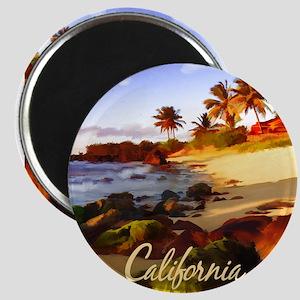 Palms, Beach, Rocks Ocean at Sunset Calif Magnets