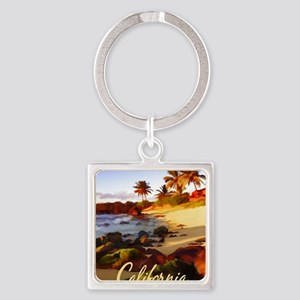 Palms, Beach, Rocks Ocean at Sunset Cal Keychains