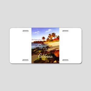 Palms, Beach, Rocks Ocean Aluminum License Plate