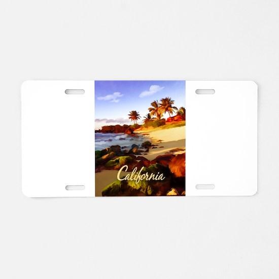 Palms, Beach, Rocks Ocean Aluminum License Plate