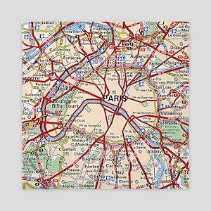 Map of Paris France Queen Duvet