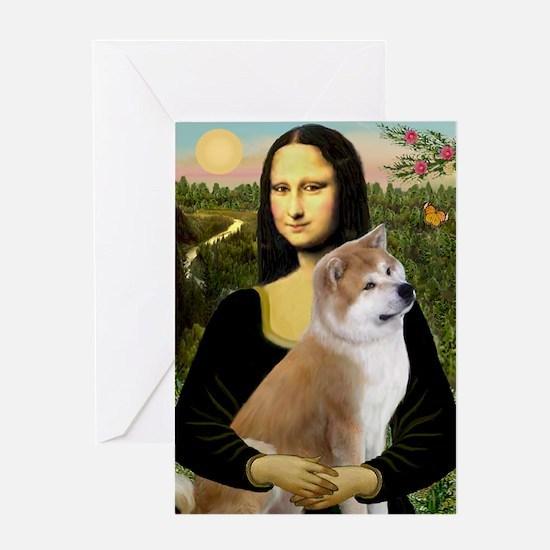 Mona / Akita (br&w) Greeting Card