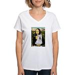 MonaLisa-AKita2 Women's V-Neck T-Shirt