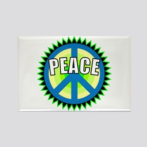 Green Peace Sign Rectangle Magnet