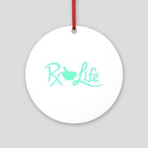 Aqua Rx Life Round Ornament