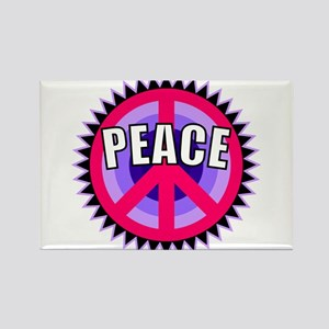 Pink Peace Sign Rectangle Magnet