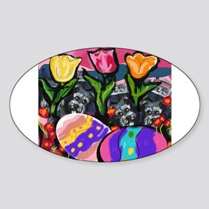 SCHNAUZER Easter Egg Design Oval Sticker