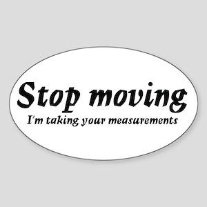 Taking measurments Oval Sticker