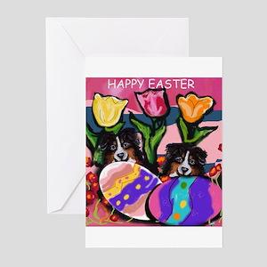 AUSTRALIAN SHEPHERD Easter De Greeting Cards (Pack