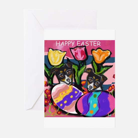 RAT TERRIER Easter Design Greeting Cards (Package