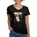 MonaLisa-AmEskimoDog Women's V-Neck Dark T-Shirt