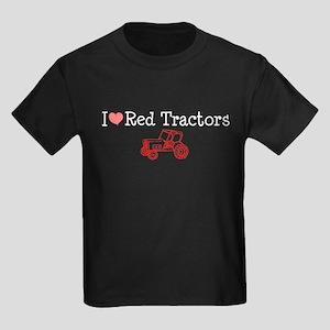 I Love Red Tractors Kids Dark T-Shirt