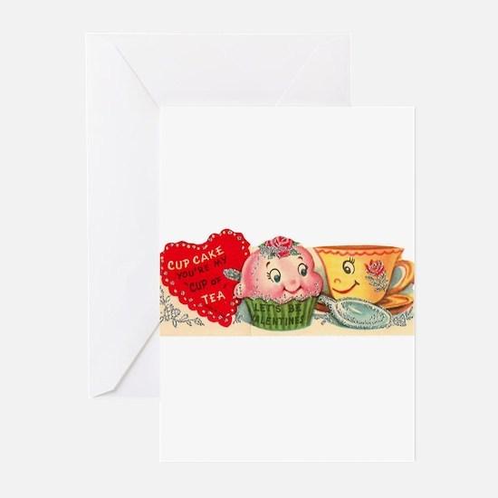 Vintage Retro Cupcake And Teacup Va Greeting Cards