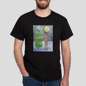 Candy Cane Sock Monkey Dark T-Shirt
