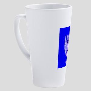 Blue Menorah Hanukkah 4Joshua 17 oz Latte Mug