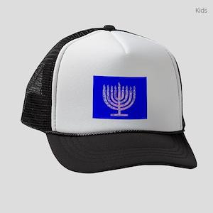 Blue Menorah Hanukkah 4Joshua Kids Trucker hat