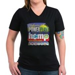 Hemp Power Plant Women's V-Neck Dark T-Shirt