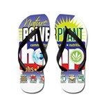 Hemp Power Plant Flip Flops